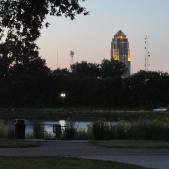 Downtown Des Moines from Gray's Lake Park