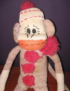 "Photo bymissprint2  (""I'm a Sock Monkey! And you look scary."")"