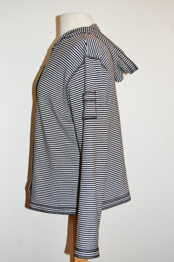 Striped hoodie front (side)